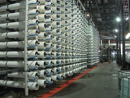 The world's biggest desalinaation plant. The diameter of those membrane tubes is about the diameter of your hand. Flickr photo from Sasyl. CC.