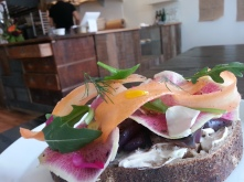 Tartine: sourdough country loaf, house kefir, local vegetables: beet, radish, carrot